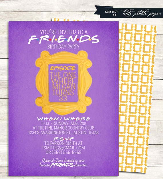 FRIENDS TV Show Shower Invitation Bridal by LittlePebblePaper