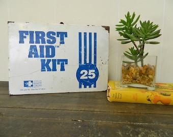 Vintage First Aid Box, Metal First Aid Kit, American White Cross, Vintage Bathroom Décor
