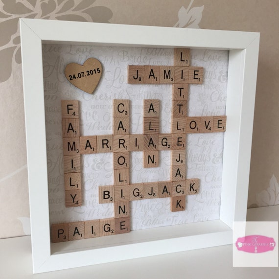 Scrabble Tiles Framed Picture Wedding Present By