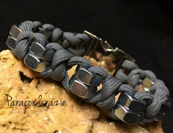 hex nut paracord bracelet handmade usaparacord bracelet with 1 4 inch hex nuts metal