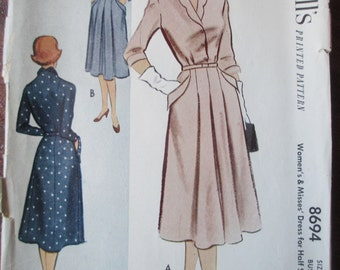 Vintage McCall's Women's & Misses' Dress for Half Sizes 8694 (17 pieces-printed pattern) Bust 43