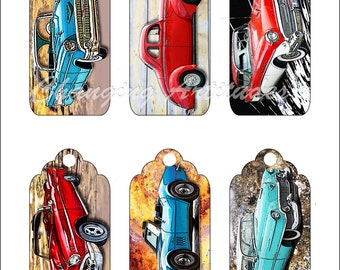 CLASSIC CARS BOOKMARKS and or Gift Tags Instant Digital Downloads Chevys Buick Corvette 300 Dpi Jpg