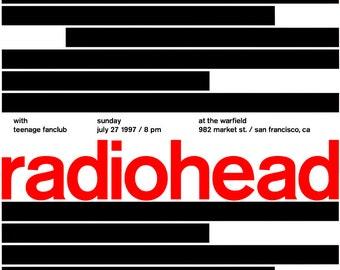 Radiohead Concert Poster, July 27th 1997, The Warfield, Market Street, San Francisco