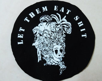 Marie Antoinette patch (sew on) - twisted, dark and humorous, handmade screenprinted patch, white print on black fabric