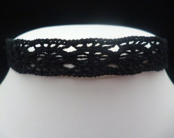 Black 10mm Crochet Choker Necklace - Victorian-Gothic–Wiccan-Halloween