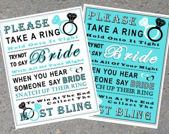 Bridal Shower Game: Don't Say Bride ***BLUE & BLACK***