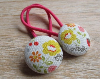 Fabric Covered Button Hair Elastic – Flowers (Set of 2)