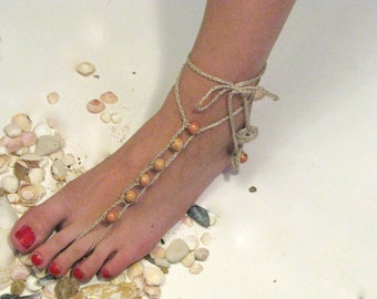 Crochet Barefoot Sandals, Nude shoes, Foot jewelry,Wedding, Victorian Lace, Sexy, Yoga, Anklet , Bellydance, Steampunk, Beach Pool