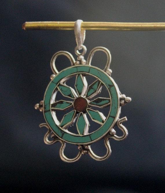 925 sterling silver dharmachakra pendant tibetan handmade in