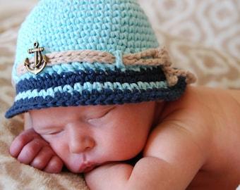 baby boy nautical, baby boy summer hat, baby boy photo prop, crochet cotton hat, anchor or wheel,  beach hat for baby boy, newborn hat