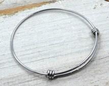 10 Three Wrap Adjustable Bracelet Stainless Steel