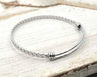 10 Braided Adjustable Bracelet Stainless Steel