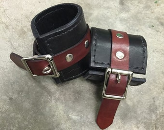 Lambskin Lined Leather BDSM Wrist Cuffs