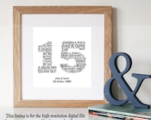 Gift Ideas For Parents 35th Wedding Anniversary : ... Digital Art Print - Unique Anniversary gift - 15th Anniversary Gift
