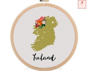 Ireland Cross Stitch Pattern Modern Cross Stitch Pattern Country Cross Stitch Pattern Ireland Art Ireland Country Art Ireland Pattern