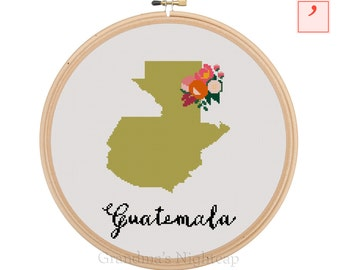 Guatemala Cross Stitch Pattern Modern Cross Stitch Pattern Country Cross Stitch Pattern Guatemala Art Guatemala Country Guatemala Pattern