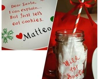 Personalized Christmas Santa Plate and Mug Set