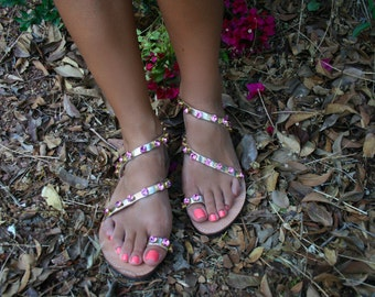 FREE SHIPPING _Ankled strap leather sandal in Pink Swarovski elements : Lefkada