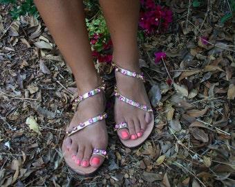 Ankled strap leather sandal in Pink Swarovski elements : Lefkada