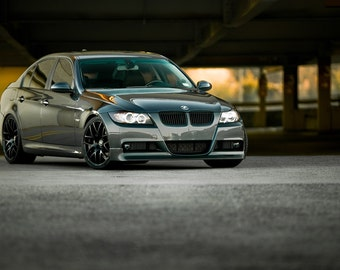 Poster of BMW E90 3-Series Grey Right Front HRE P40 Wheels HD Print