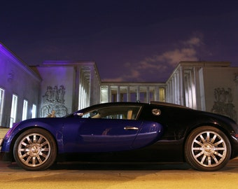 Poster of Bugatti Blue Veyron Left Side HD Print