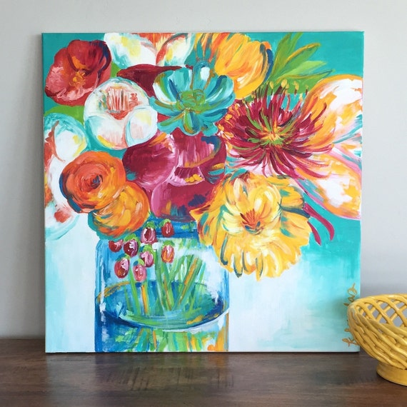 Giclee print of an acrylic floral
