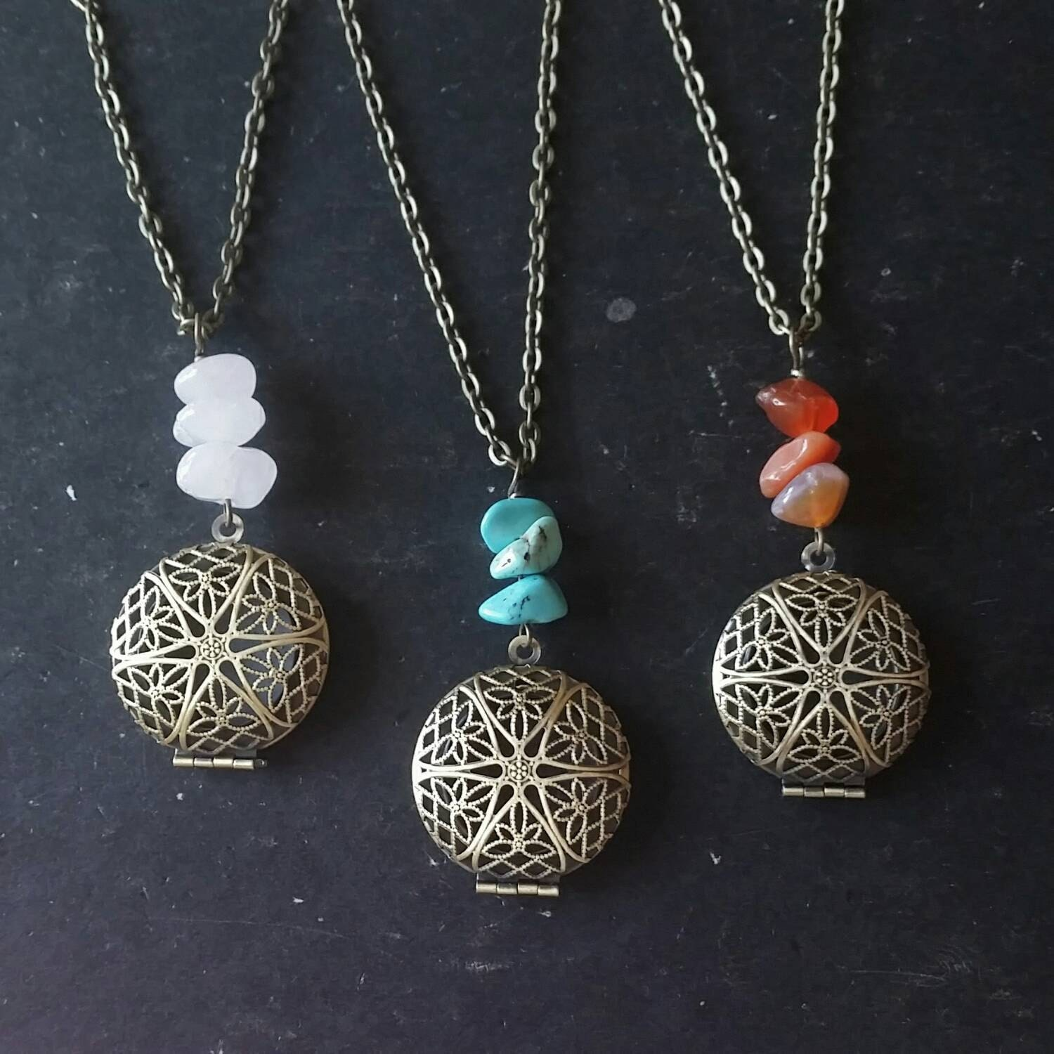 gemstone aromatherapy necklace essential diffuser