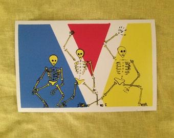 Skeleton dance party.