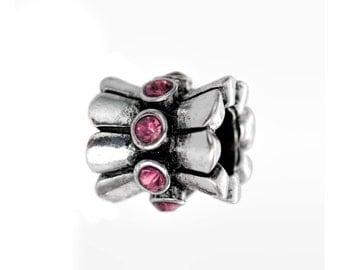 2PCs Rhinestone Flower Charm Spacer Beads For European Charm Bracelets #3-002