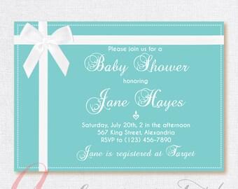 Babyshower invitation.  Printable  Party invitation. White bow invite. Turquoise invite. Teal Birthday invite.