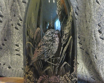 Hand-etched Vintage Bottle Field Bird, Butterfly and Flowers Design