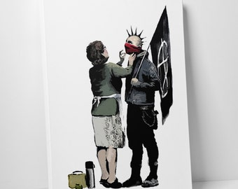 Banksy Mother and Anarchist Gallery Wrapped Canvas Print. BONUS WALL DECAL!
