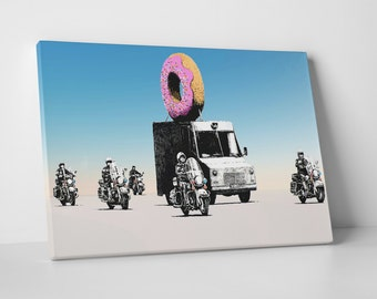 Banksy Donut Police Gallery Wrapped Canvas Print. BONUS WALL DECAL!