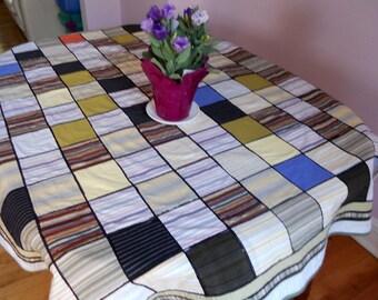 "Patchwork cotton rectangular tablecloth, multicolored stripes cotton tablecloth, 43"" x 54"" tablecloth, ready to ship"