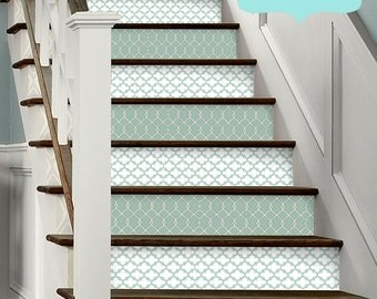 15pc Stair Riser Vinyl Strips Removable Sticker Peel & Stick: F6073a Green Morrocan
