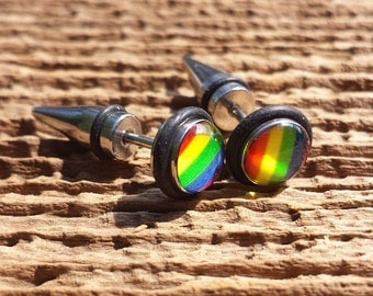 Illusion gay pride fake cheater stretcher. Stainless Steel. Rivet taper. Body piercing jewelry. (bj-80-10)