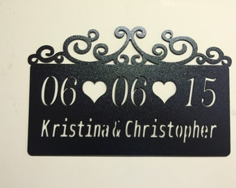 Name and Date Wedding or Anniversary Metal Sign