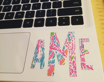 Lily Pulitzer Monogram Decal for Laptop