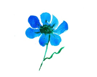 Blue Flower Watercolor Painting: Original Artwork - Blue Flower Painting - Small Watercolor - Blue Wall Art - Blue Watercolor