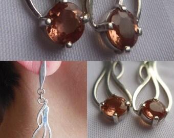 Handmade Brazilian Imperial Topaz Earrings | Imperial Topaz Jewelry | Topaz Jewelry | Imperial Topaz