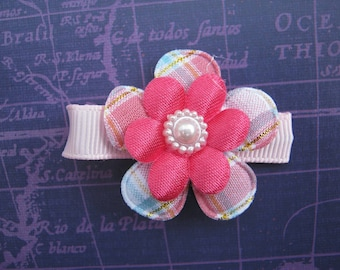 Pink and Purple Plaid Hair Clippie, Baby Hair Clip, Newborn Clip, Toddler Hair Clip, Plaid Flower Clip, Pink Hair Clip, Purple Hair Clip