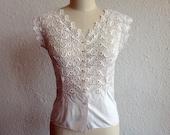 50s White lace blouse