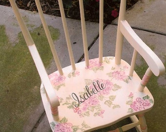child'e rocking chair, kids rockers, Flower Rocking Chair, hand painted child's rocking chair