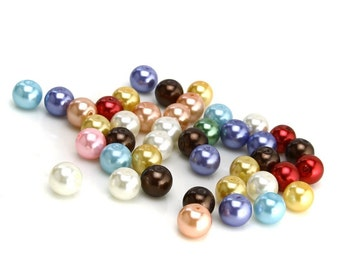 1000pcs Tiny Satin Luster Glass Pearl Round Beads 4mm. Hole Size: 0.8mm. Assorted Colors (M02)