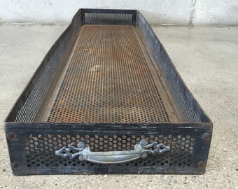Large Vintage Perforated Metal Industrial Tray/Box