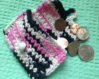 Zebra & Pink coin purse