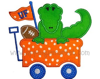SAMPLE SALE: Appliqued Wagon with Appliqued Alligator and Football on Tshirt or Bodysuit, Free Shipping