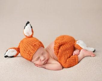 Rusty Fox Hand Knit Newborn Photography Set
