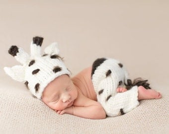 Baby Giraffe Hand Knit Newborn Photography Set