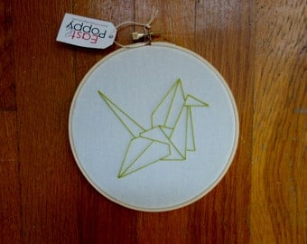 Origami Bird Embroidery Hoop